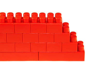 plastic bricks: Fragment of a toy, brick wall, built out of plastic bricks