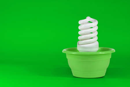 Electric lamps, energy saving, in a plastic flower pots photo