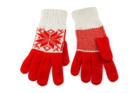 the mittens: Elegante y moda, guantes de malla de lana de la mujer  Foto de archivo