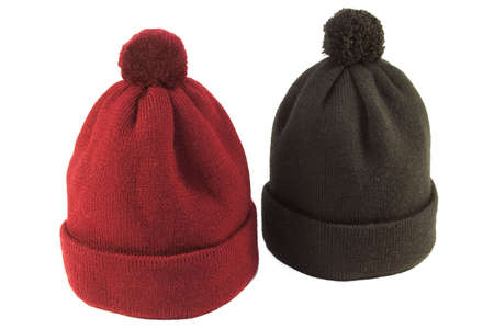 warm things: Wool knit hat red and black on a white background