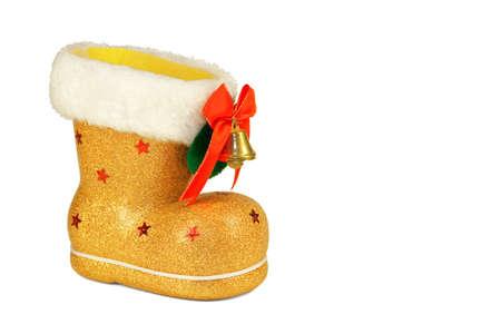 botas de navidad: Navidad de oro se inicia con una campana y un arco rojo sobre fondo blanco