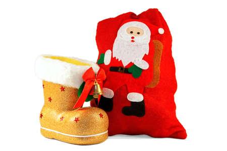 botas de navidad: Oro de botas de Navidad y una bolsa roja de regalos