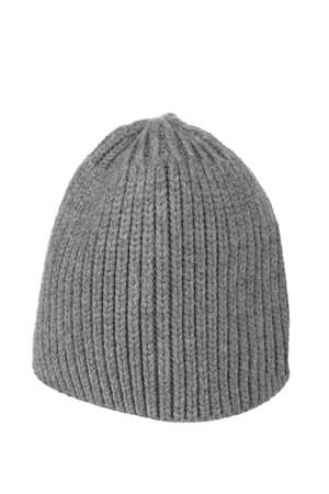 Woolen knitted cap of gray on a white background photo