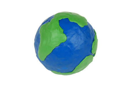 Model of the globe, made of clay, on white background Stock Photo