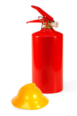response: Red fire extinguisher and a yellow toy fire helmet. Concept