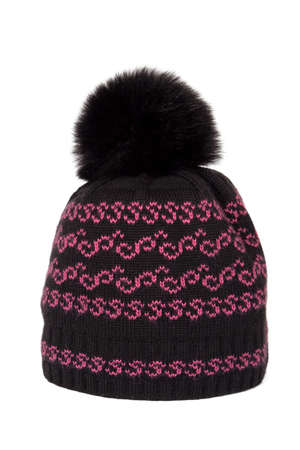 Woolen knitted cap with a fur pompon on a white background
