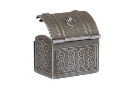 Miniature open metal box on a white background Stock Photo - 9113214