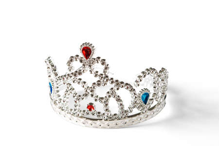 Crown toy, silver, lying on a white background photo