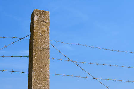 barbed hook wires: The concrete fence with barbed wire against a blue sky