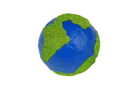 Globe made of clay and grass on a white background photo