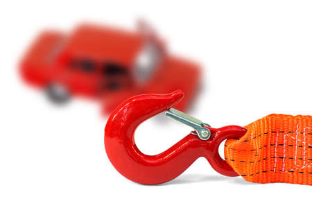 tow truck: Alarm cable and a faulty car on a white background. Concept Stock Photo