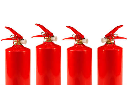 Four red fire extinguisher standing on a white background photo
