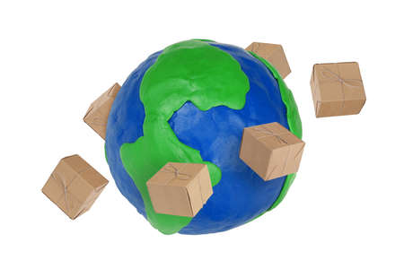 Plasticine Globe and flying around the cardboard boxes Stock Photo - 13355316