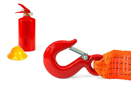 Emergency rope, fire extinguisher and a helmet on a white background Stock Photo - 13598385