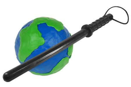 Plasticine Globe and baton on a white background photo