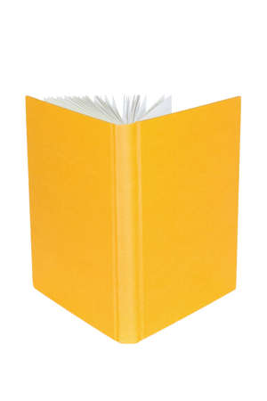 Disclosed yellow book, standing on a white background photo