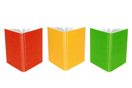 disclosed: Disclosed colorful books, standing on a white background