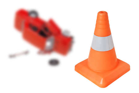 Emergency cone and a car on a white background  concept Stock Photo