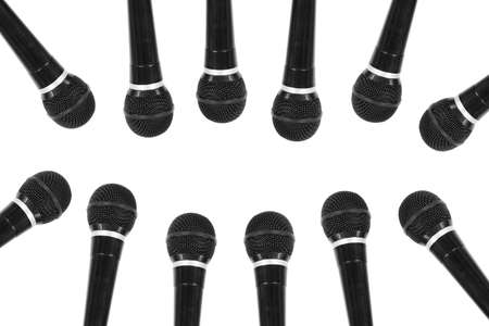 Group of microphones on a white background. Objects, background Stock Photo - 18754359