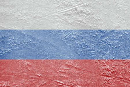 Image of a Russian flag on a hockey rink  Texture, background Stock Photo