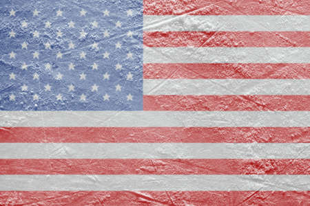 Image of the American flag on a hockey rink  Texture, background photo