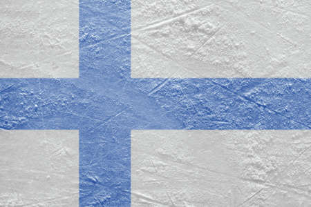 Image of the Finnish flag on a hockey rink  Texture, background