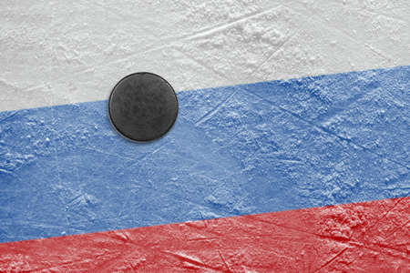 Washer and the image of the Russian flag on a hockey rink Stock Photo