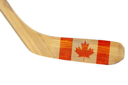 Hockey stick with the image of the Canadian flag  Isolated photo