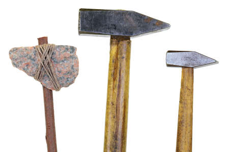 stone cutter: Model of a stone ax and two old hammer  Object, isolated Stock Photo