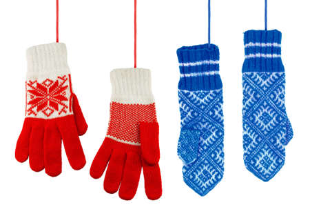 Two pairs of multicolored knitted mittens women