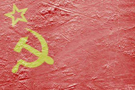 Image of the Flag of the Soviet Union on a hockey rink  Texture, background photo