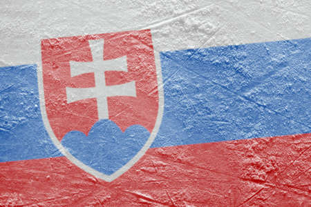 Preview Slovak flag on a hockey rink  Texture, background