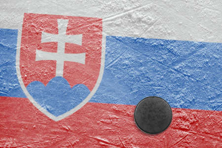 Washer and the image of the flag of Slovakia at hockey rink