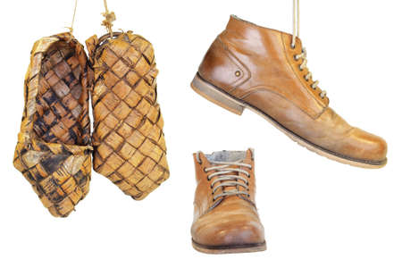 stoking: Shoes and old traditional Russian bast shoes