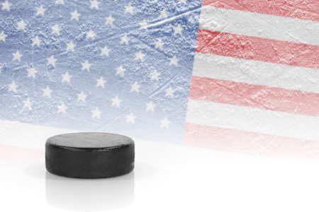oncept: Hockey puck and the image of the American flag. ?oncept