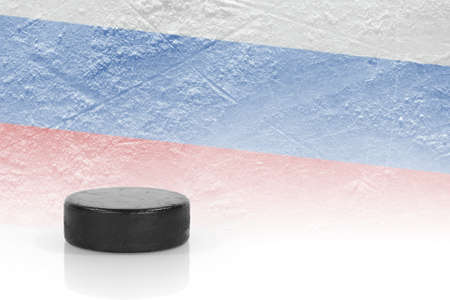 oncept: Hockey puck and the image of the Russian flag. ?oncept