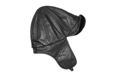 white trim: Leather hat with fur trim on a white background