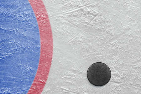 The puck lying on a hockey rink. Texture, background Standard-Bild