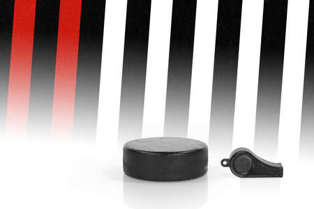 judicial: Whistle, washer and a fragment of judicial forms. Concept, hockey
