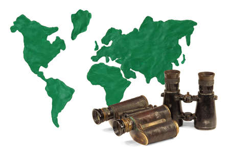 approximation: Continents and continents made of clay and old binoculars
