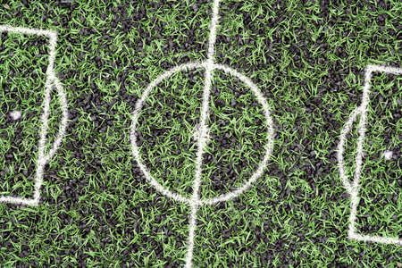 markings: Artificial turf football field with markings. Concept, texture, background