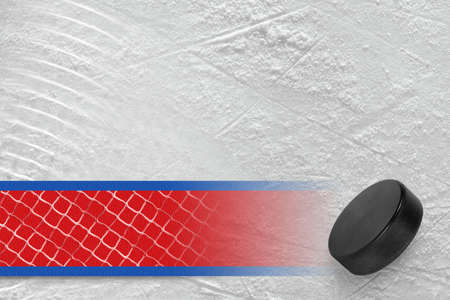 Hockey puck on the site. Texture, background, concept