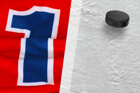 fragments: Fragments of the hockey sweater with the number one and washer