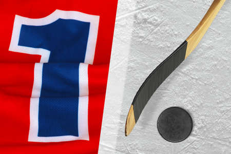 fragments: Fragments of the hockey sweater with number one, stick and puck