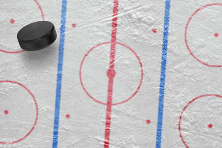 ice arena: The puck on the ice hockey rink. Concept, hockey, background