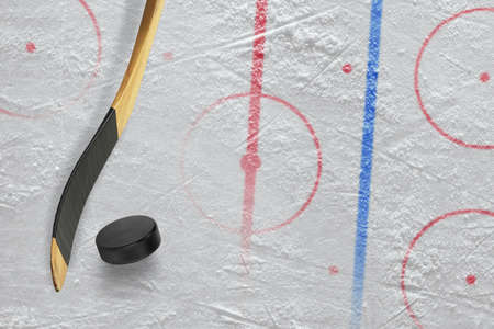 hockey games: Stick, puck and hockey field. Concept, hockey Stock Photo