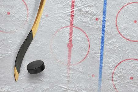 hockey stick: Stick, puck and hockey field. Concept, hockey Stock Photo