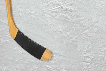 ice arena: Hockey stick on the ice arena. Concept, background Stock Photo