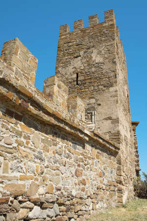 Detail of the walls and towers of the old fortress citadel. Architecture, exterior, history Editorial
