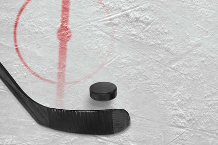 Fragment of ice hockey rink with a central circle, stick and puck. Concept, hockey